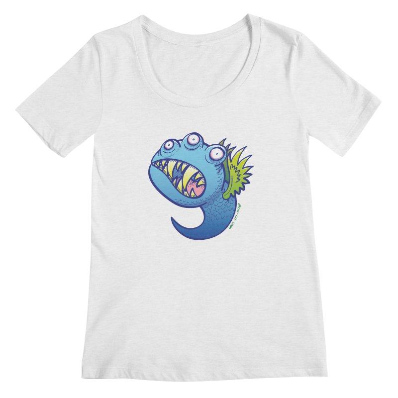 Terrific little winged blue monster Women's Scoopneck by Zoo&co's Artist Shop