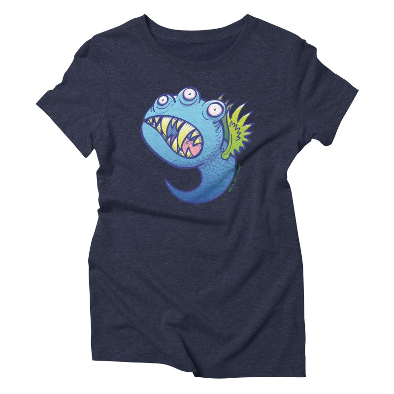 Terrific little winged blue monster Women's Triblend T-Shirt by Zoo&co's Artist Shop