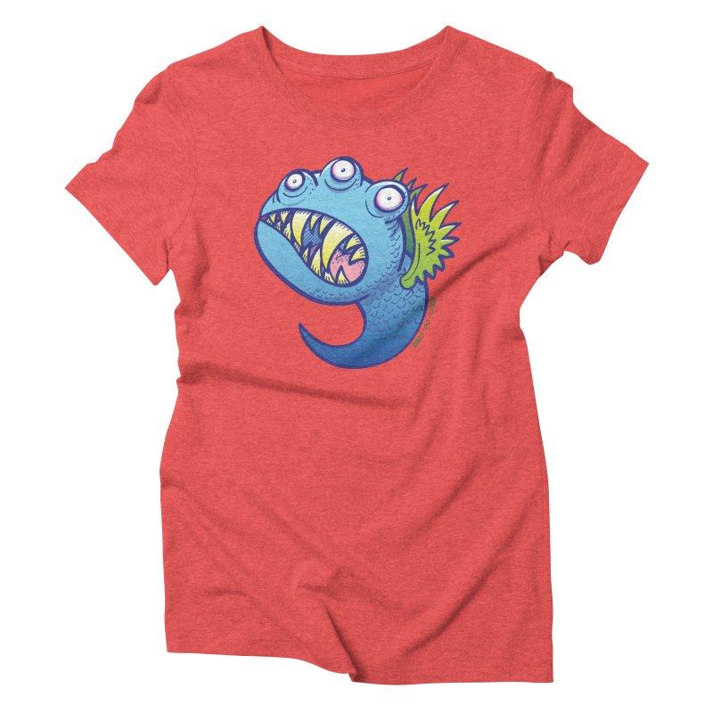 Terrific little winged blue monster Women's Triblend T-shirt by Zoo&co's Artist Shop