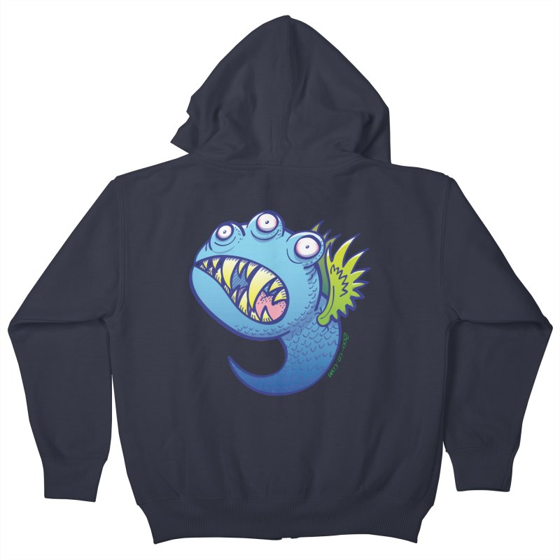 Terrific little winged blue monster Kids Zip-Up Hoody by Zoo&co's Artist Shop