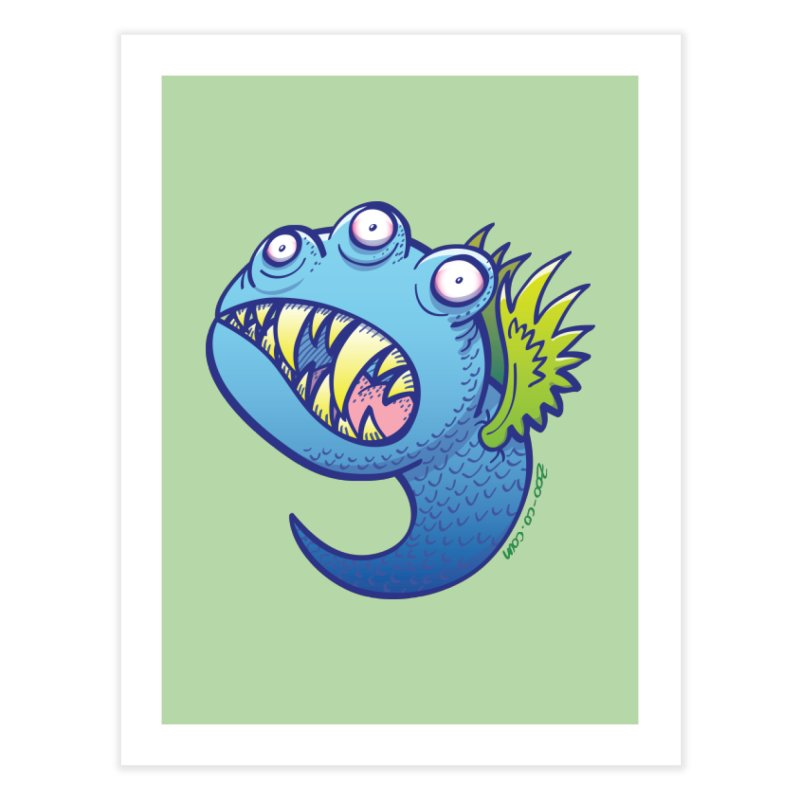 Terrific little winged blue monster Home Fine Art Print by Zoo&co's Artist Shop