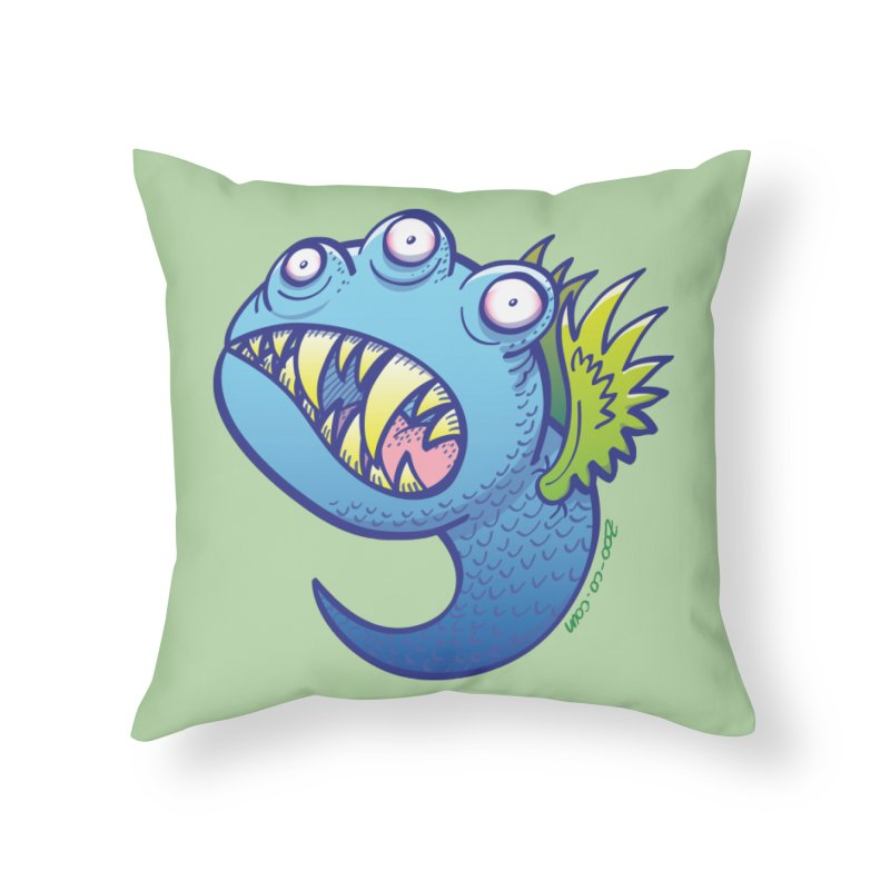 Terrific little winged blue monster Home Throw Pillow by Zoo&co's Artist Shop
