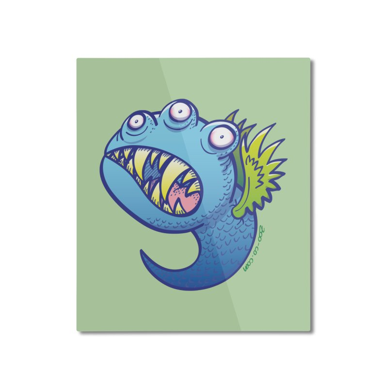 Terrific little winged blue monster Home Mounted Aluminum Print by Zoo&co's Artist Shop