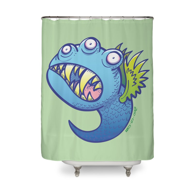 Terrific little winged blue monster Home Shower Curtain by Zoo&co's Artist Shop