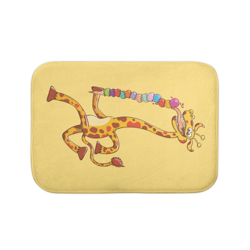 Long-necked giraffe eating ice cream Home Bath Mat by Zoo&co's Artist Shop