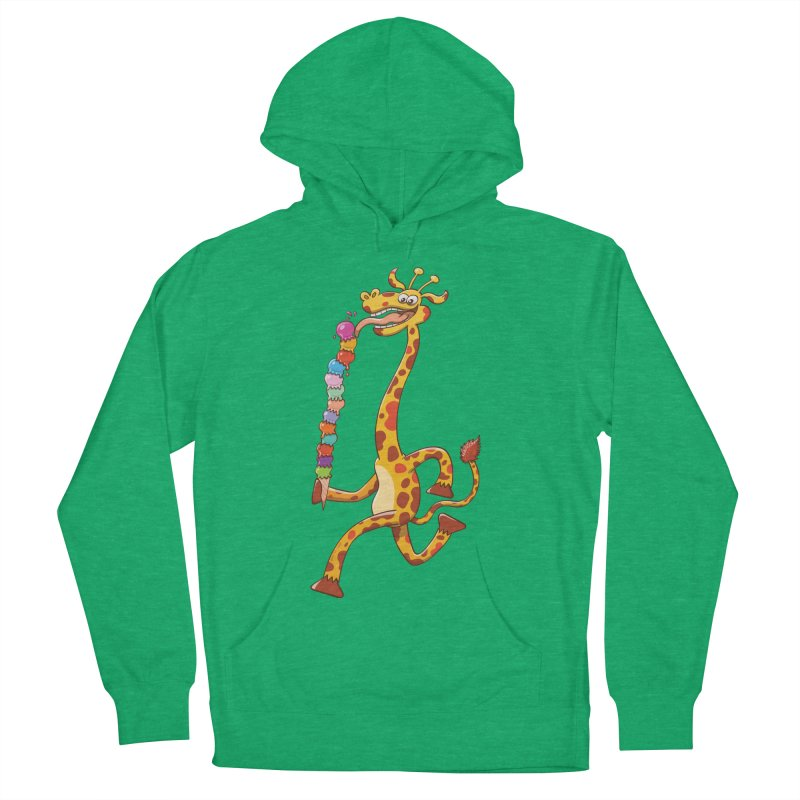 Long-necked giraffe eating ice cream Men's Pullover Hoody by Zoo&co's Artist Shop