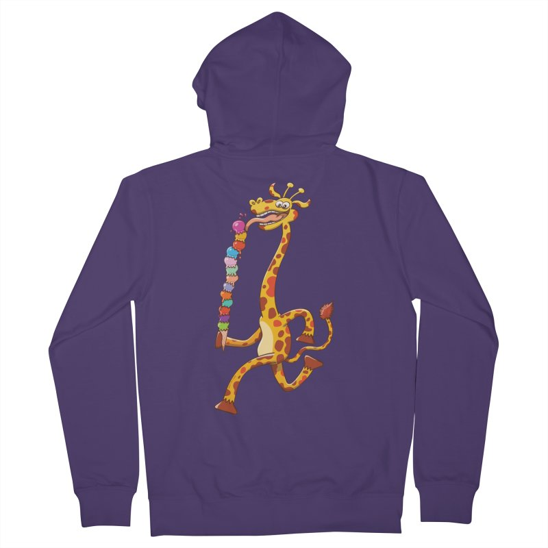 Long-necked giraffe eating ice cream Women's Zip-Up Hoody by Zoo&co's Artist Shop