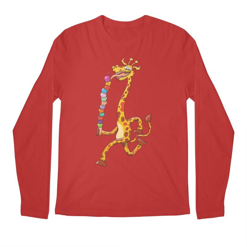 Long-necked giraffe eating ice cream Men's Longsleeve T-Shirt by Zoo&co's Artist Shop