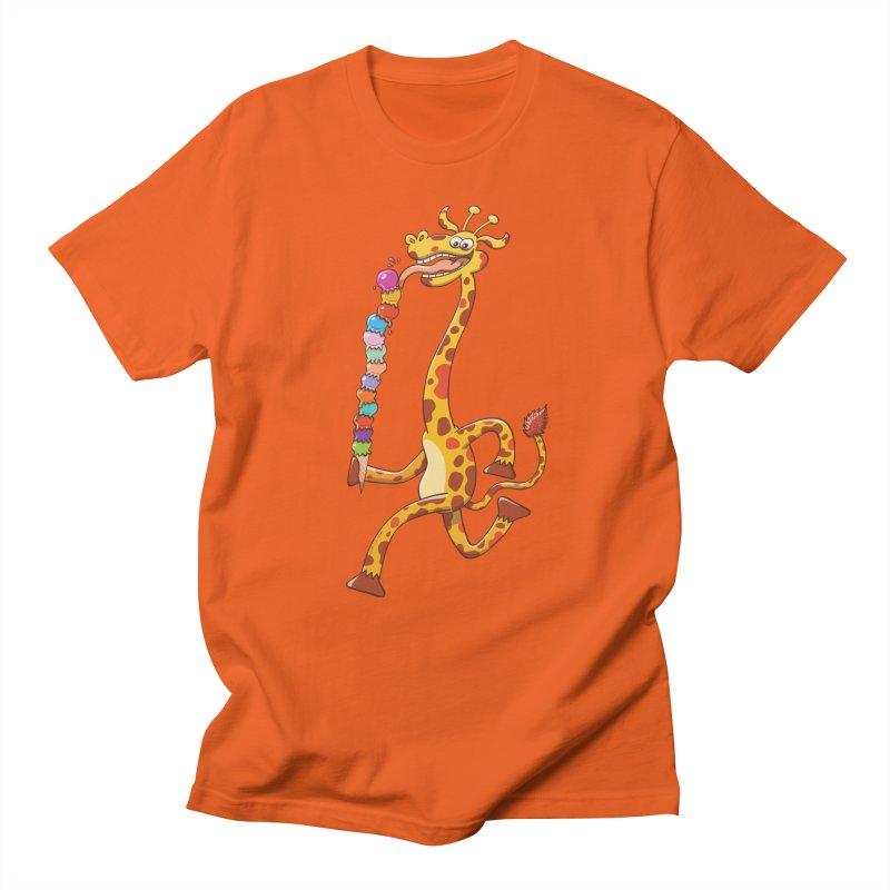 Long-necked giraffe eating ice cream Men's T-shirt by Zoo&co's Artist Shop
