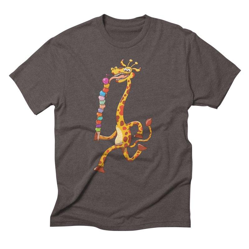 Long-necked giraffe eating ice cream Men's Triblend T-shirt by Zoo&co's Artist Shop
