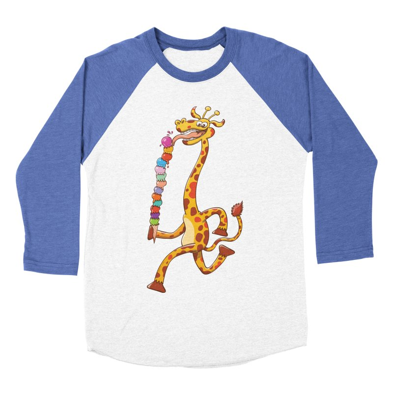 Long-necked giraffe eating ice cream Women's Baseball Triblend T-Shirt by Zoo&co's Artist Shop