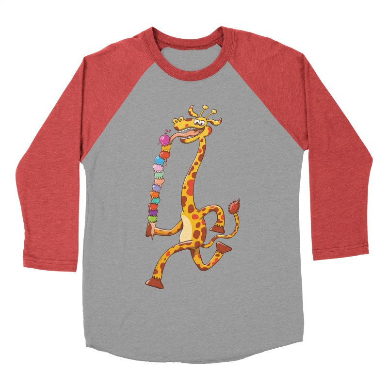 Long-necked giraffe eating ice cream Men's Baseball Triblend T-Shirt by Zoo&co's Artist Shop