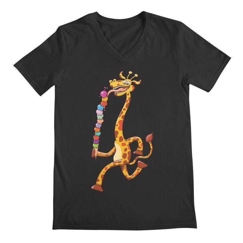 Long-necked giraffe eating ice cream Men's V-Neck by Zoo&co's Artist Shop