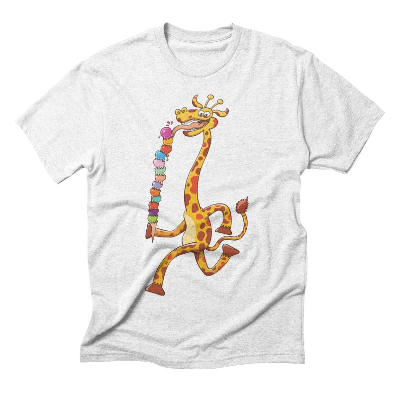 Long-necked giraffe eating ice cream Men's Triblend T-shirt by Zoo&co's Artist Shop