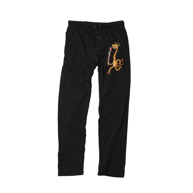 Long-necked giraffe eating ice cream Men's Lounge Pants by Zoo&co's Artist Shop