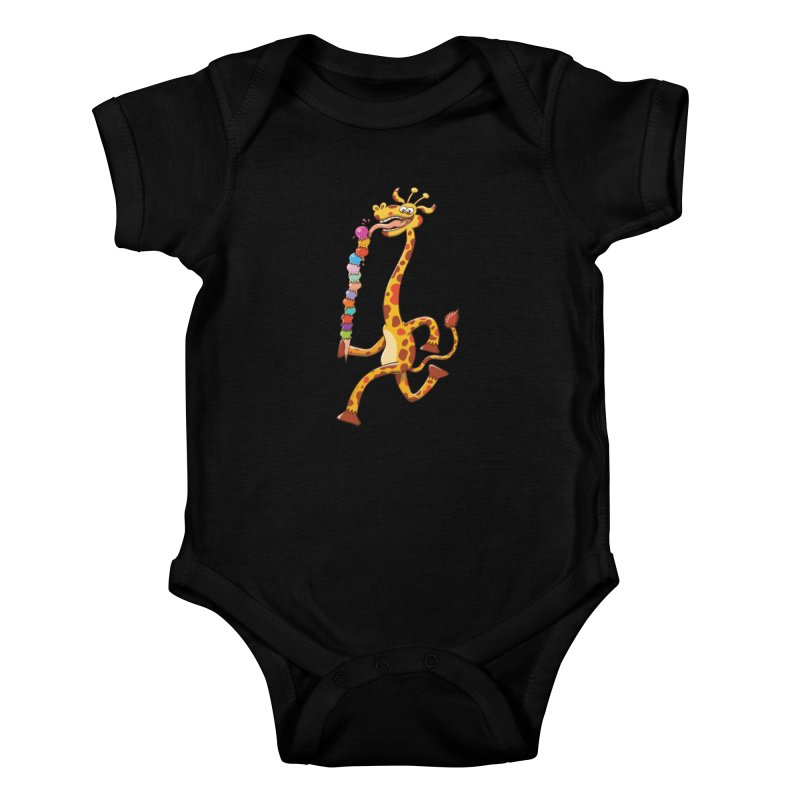 Long-necked giraffe eating ice cream Kids Baby Bodysuit by Zoo&co's Artist Shop