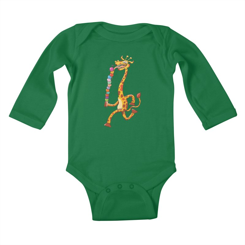 Long-necked giraffe eating ice cream Kids Baby Longsleeve Bodysuit by Zoo&co's Artist Shop