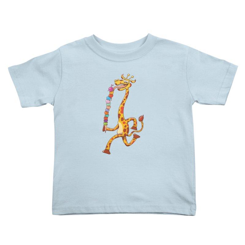 Long-necked giraffe eating ice cream Kids Toddler T-Shirt by Zoo&co's Artist Shop