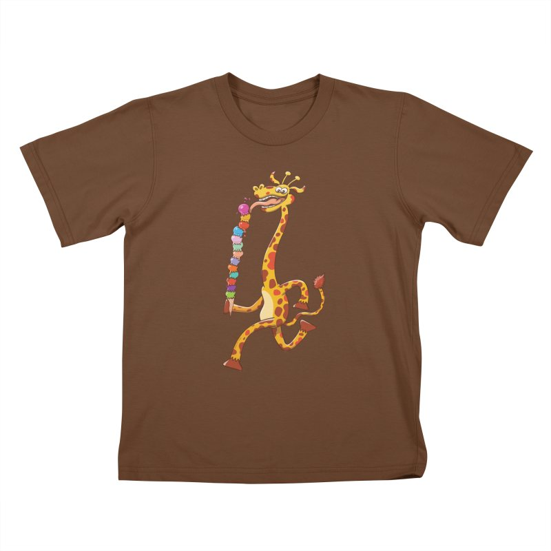 Long-necked giraffe eating ice cream Kids T-shirt by Zoo&co's Artist Shop