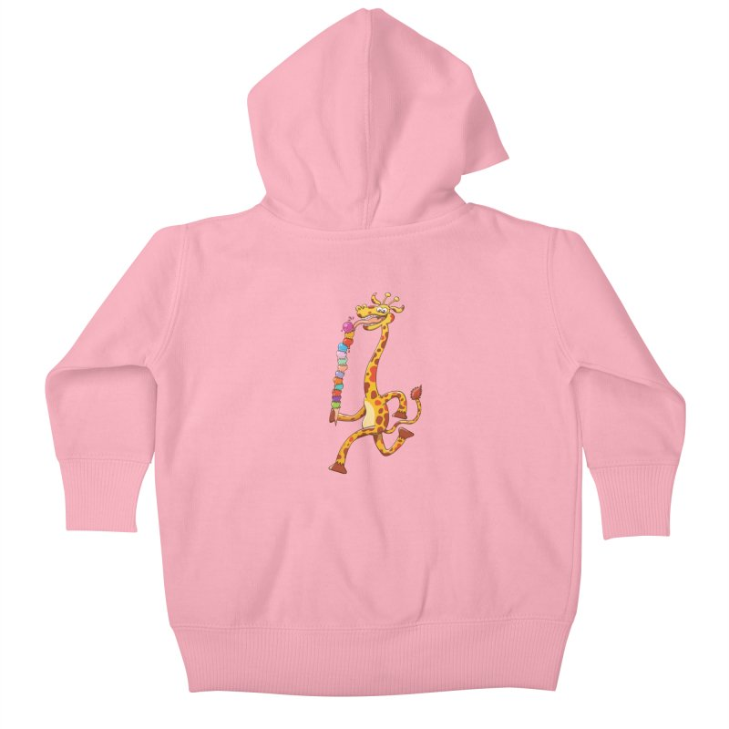 Long-necked giraffe eating ice cream Kids Baby Zip-Up Hoody by Zoo&co's Artist Shop