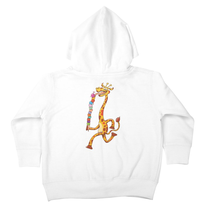 Long-necked giraffe eating ice cream Kids Toddler Zip-Up Hoody by Zoo&co's Artist Shop