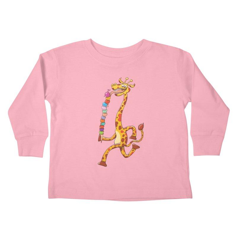 Long-necked giraffe eating ice cream Kids Toddler Longsleeve T-Shirt by Zoo&co's Artist Shop