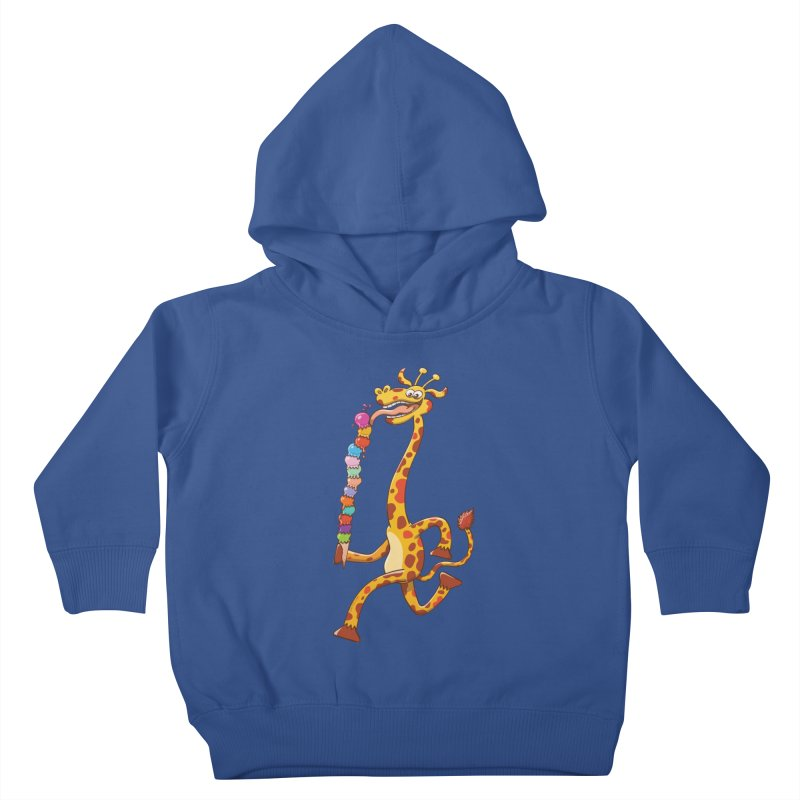 Long-necked giraffe eating ice cream Kids Toddler Pullover Hoody by Zoo&co's Artist Shop
