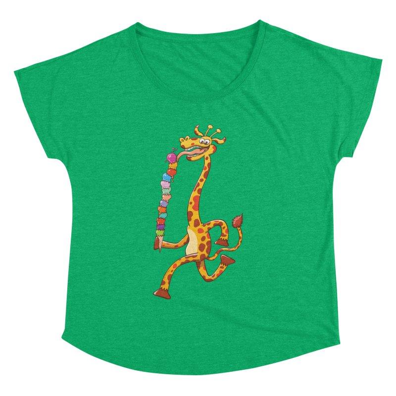 Long-necked giraffe eating ice cream Women's Dolman by Zoo&co's Artist Shop