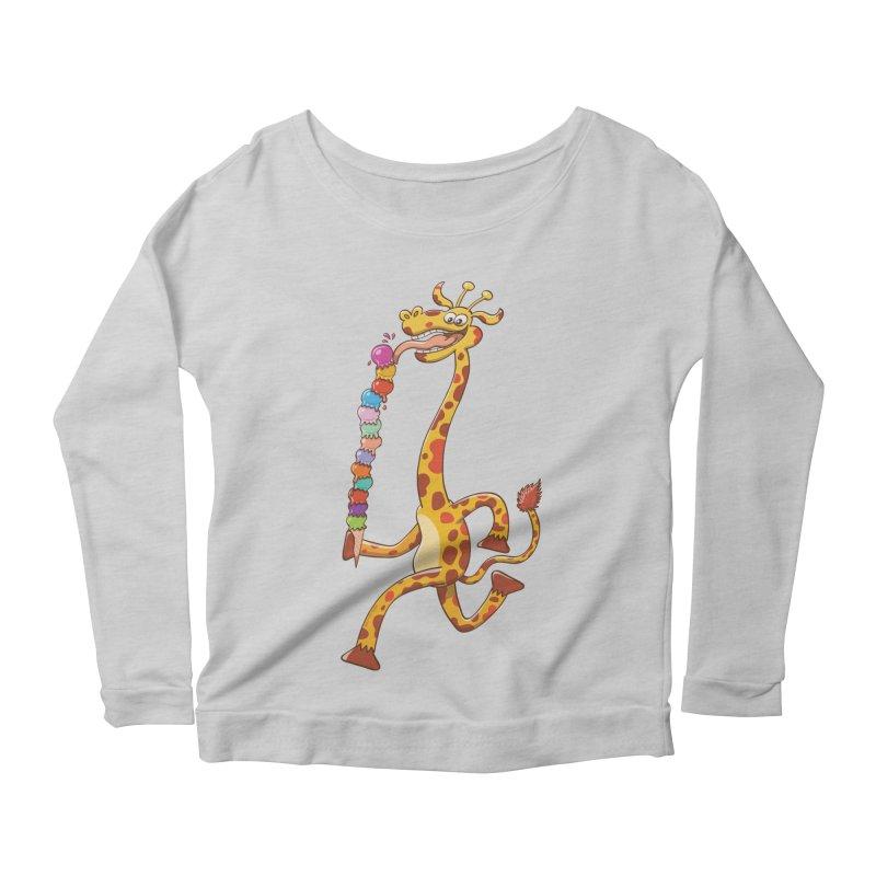 Long-necked giraffe eating ice cream Women's Longsleeve Scoopneck  by Zoo&co's Artist Shop