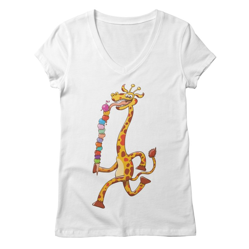 Long-necked giraffe eating ice cream Women's V-Neck by Zoo&co's Artist Shop