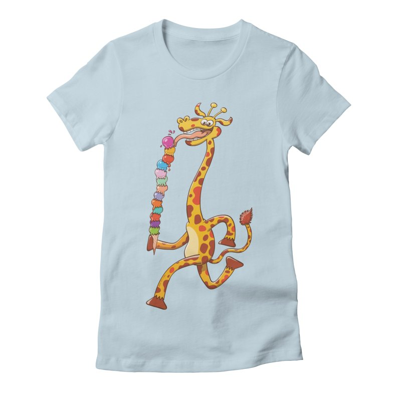 Long-necked giraffe eating ice cream Women's Fitted T-Shirt by Zoo&co's Artist Shop