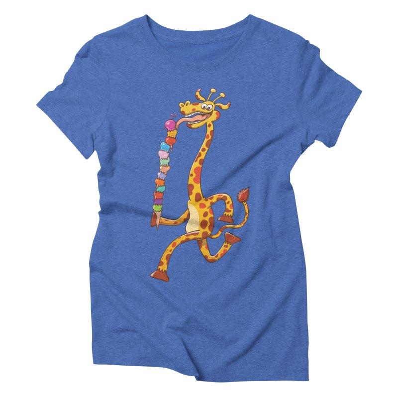 Long-necked giraffe eating ice cream Women's Triblend T-shirt by Zoo&co's Artist Shop