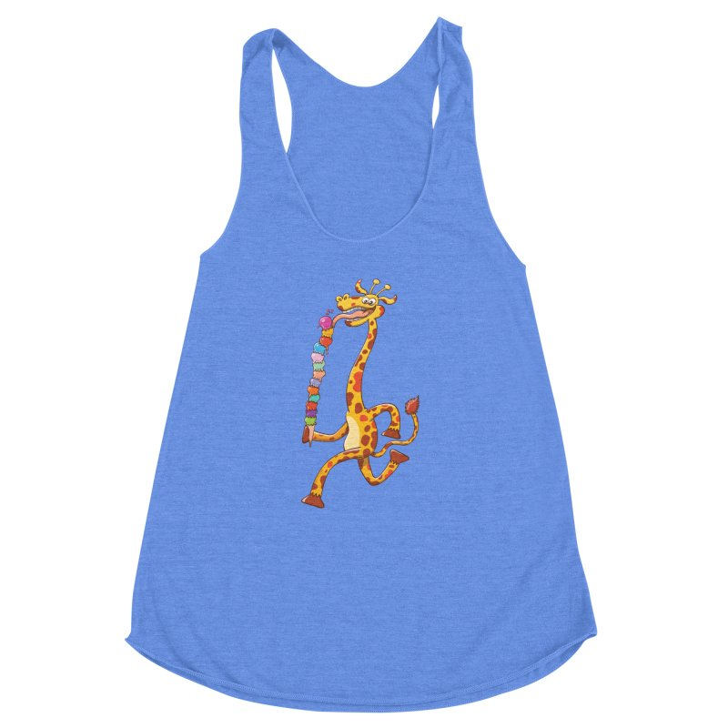 Long-necked giraffe eating ice cream Women's Racerback Triblend Tank by Zoo&co's Artist Shop