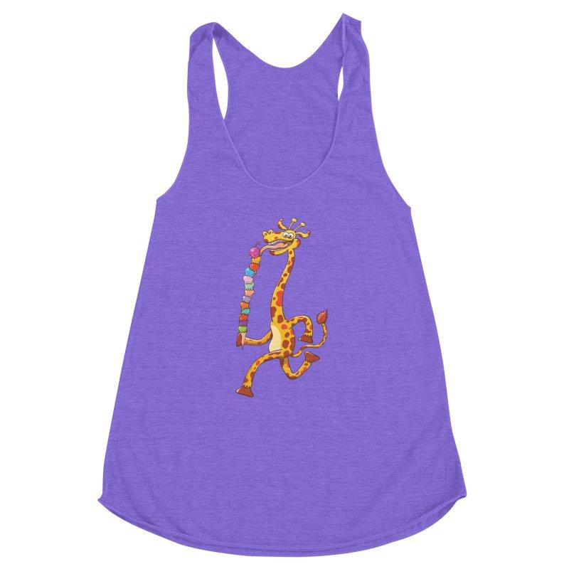 Long-necked giraffe eating ice cream Women's Racerback Triblend Tank by Zoo&co's Artist Shop