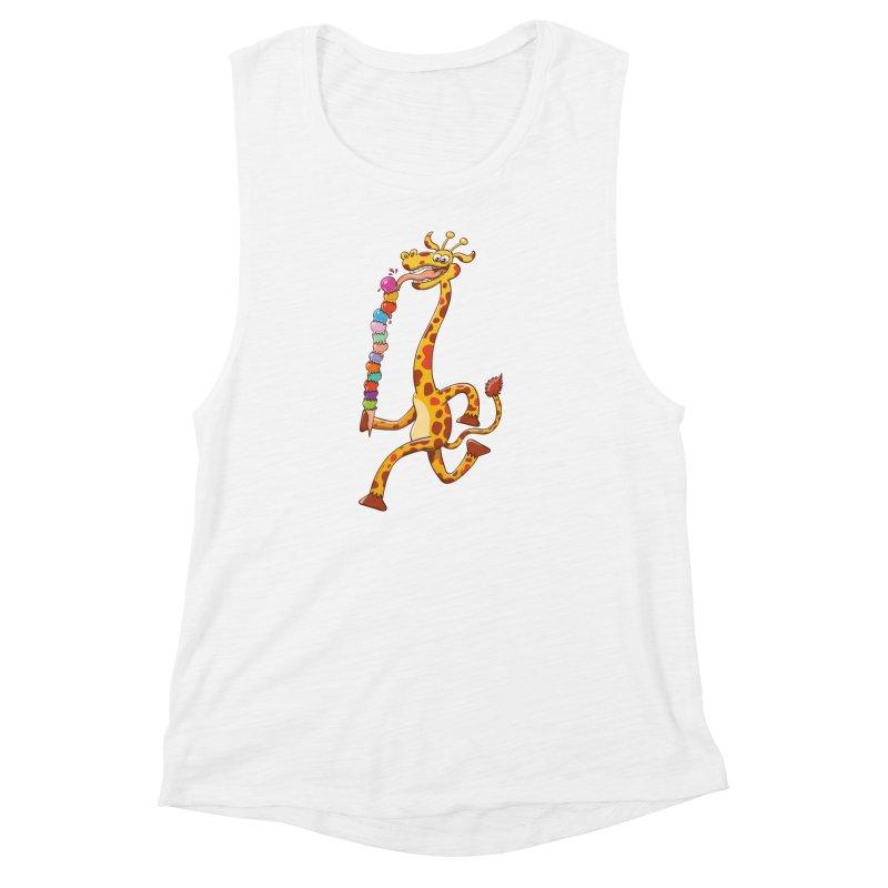 Long-necked giraffe eating ice cream Women's Muscle Tank by Zoo&co's Artist Shop