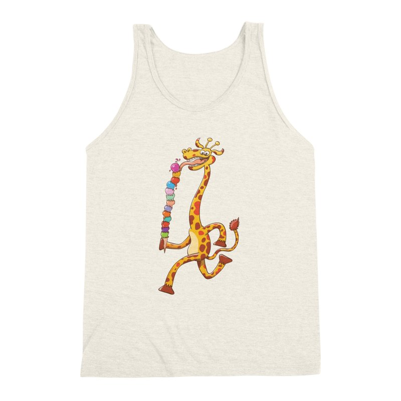 Long-necked giraffe eating ice cream Men's Triblend Tank by Zoo&co's Artist Shop