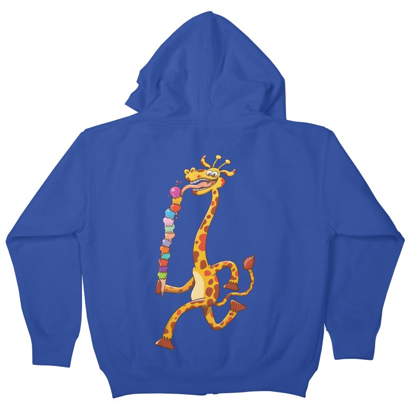 Long-necked giraffe eating ice cream Kids Zip-Up Hoody by Zoo&co's Artist Shop