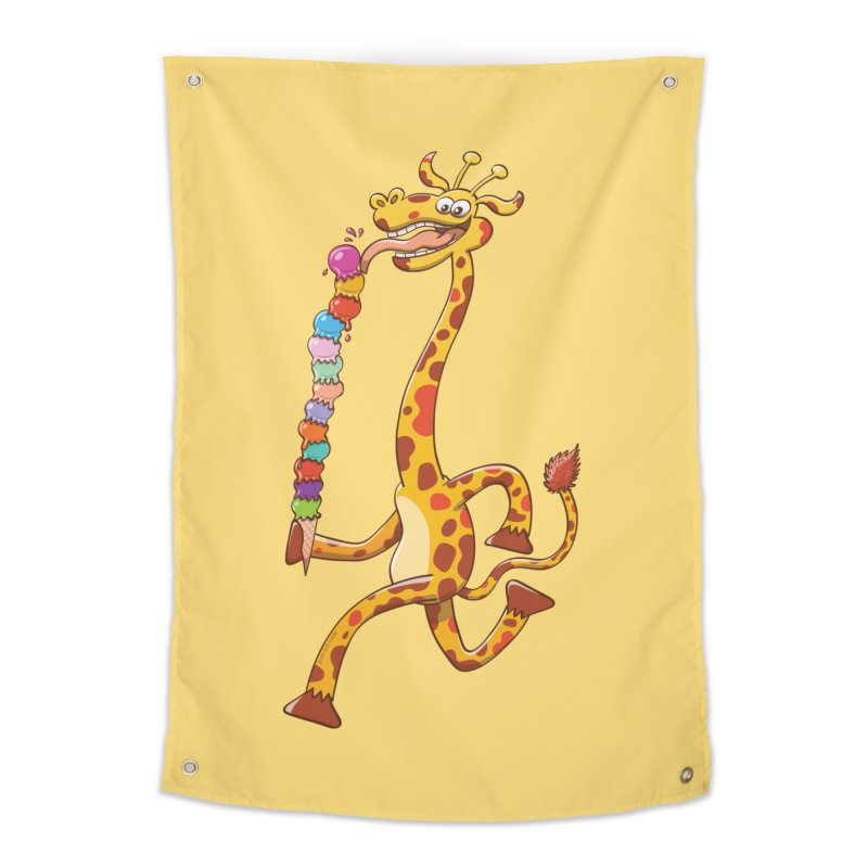 Long-necked giraffe eating ice cream   by Zoo&co's Artist Shop