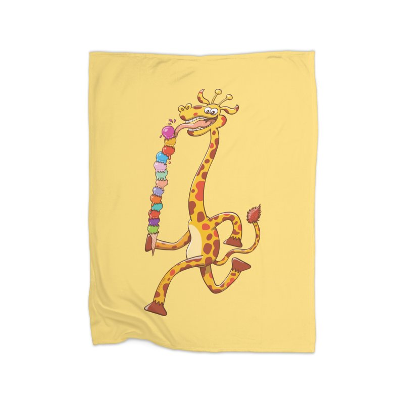 Long-necked giraffe eating ice cream Home Blanket by Zoo&co's Artist Shop