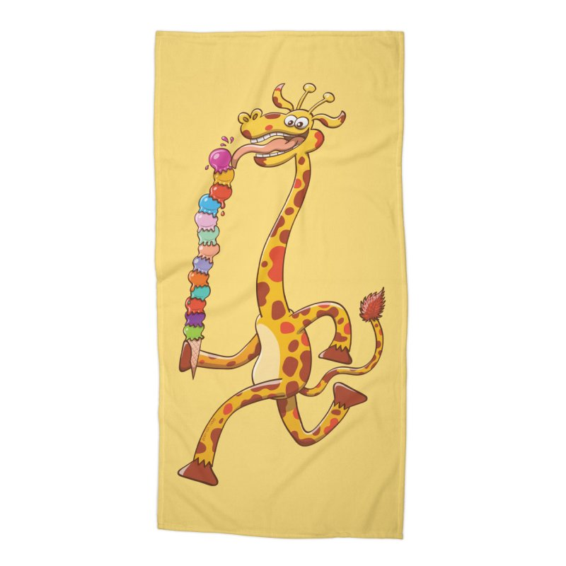 Long-necked giraffe eating ice cream Accessories Beach Towel by Zoo&co's Artist Shop