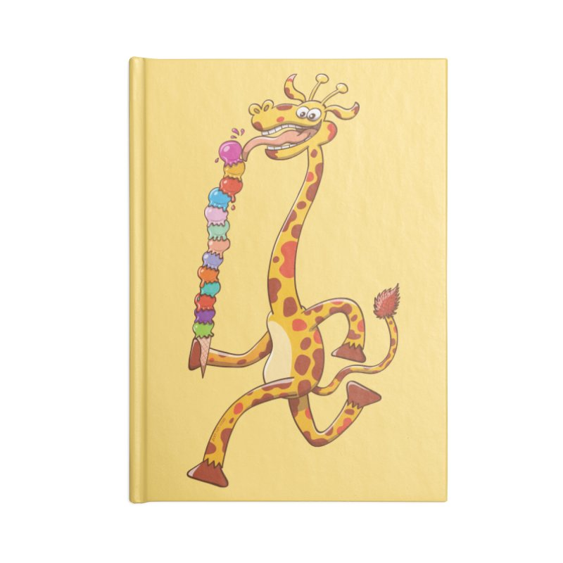 Long-necked giraffe eating ice cream Accessories Notebook by Zoo&co's Artist Shop