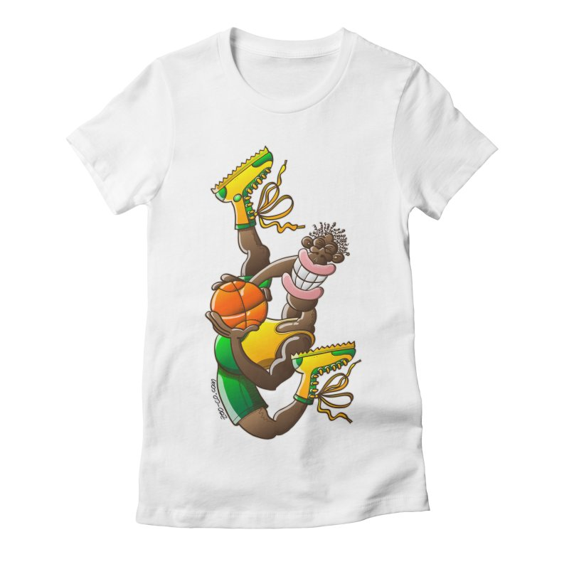 Amazing basketball Women's Fitted T-Shirt by Zoo&co's Artist Shop
