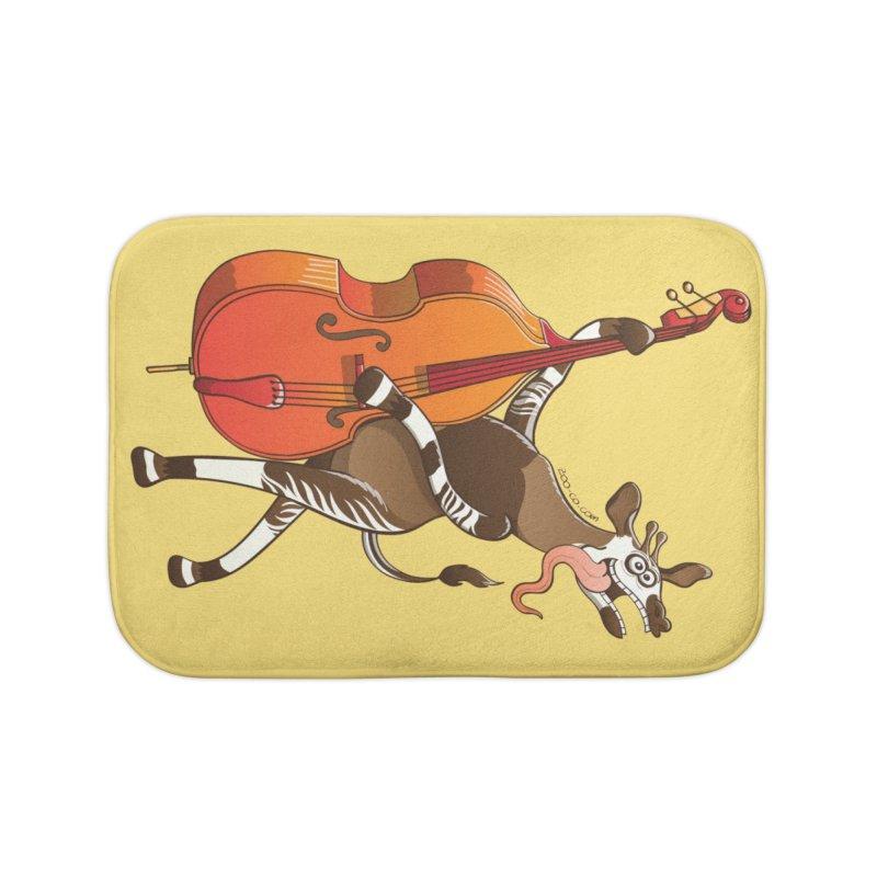Cool okapi having fun playing double bass Home Bath Mat by Zoo&co's Artist Shop