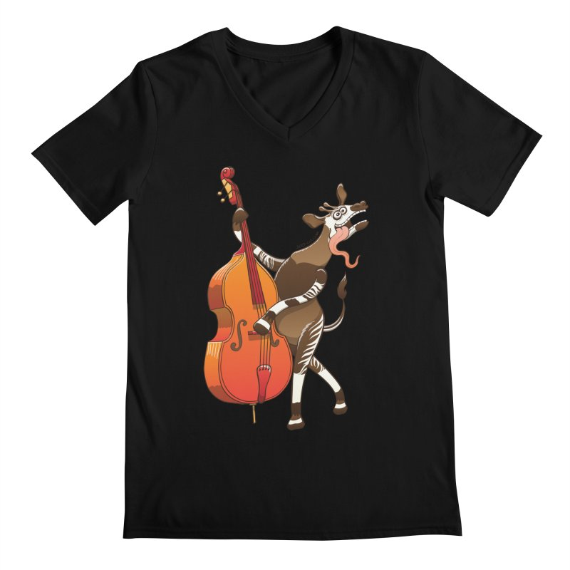 Cool okapi having fun playing double bass Men's V-Neck by Zoo&co's Artist Shop