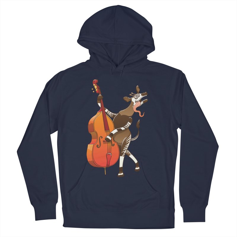 Cool okapi having fun playing double bass Women's Pullover Hoody by Zoo&co's Artist Shop