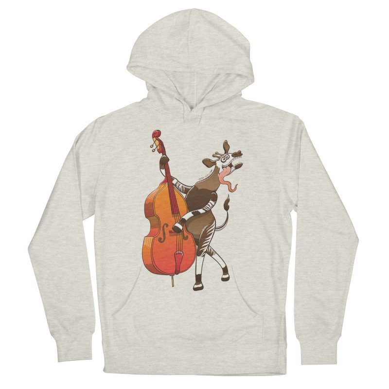 Cool okapi having fun playing double bass Men's Pullover Hoody by Zoo&co's Artist Shop