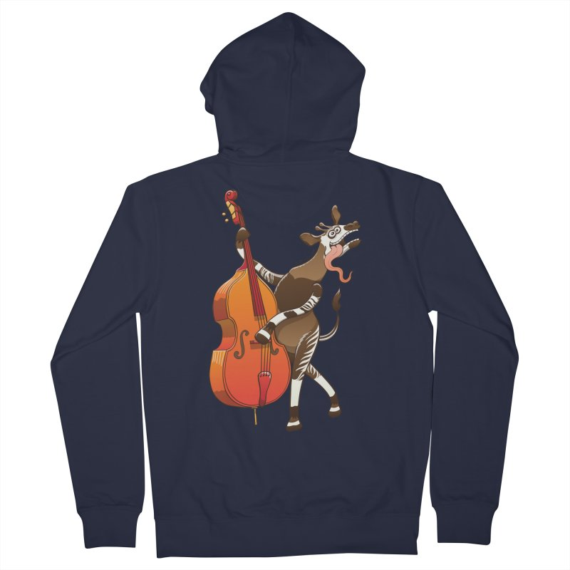 Cool okapi having fun playing double bass Women's Zip-Up Hoody by Zoo&co's Artist Shop
