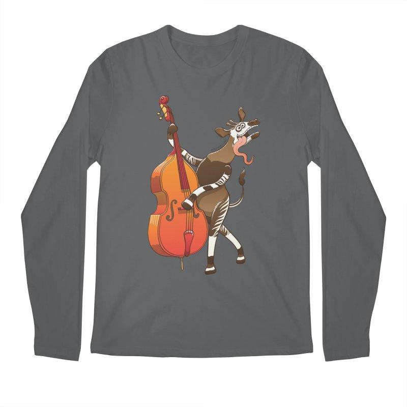 Cool okapi having fun playing double bass Men's Longsleeve T-Shirt by Zoo&co's Artist Shop