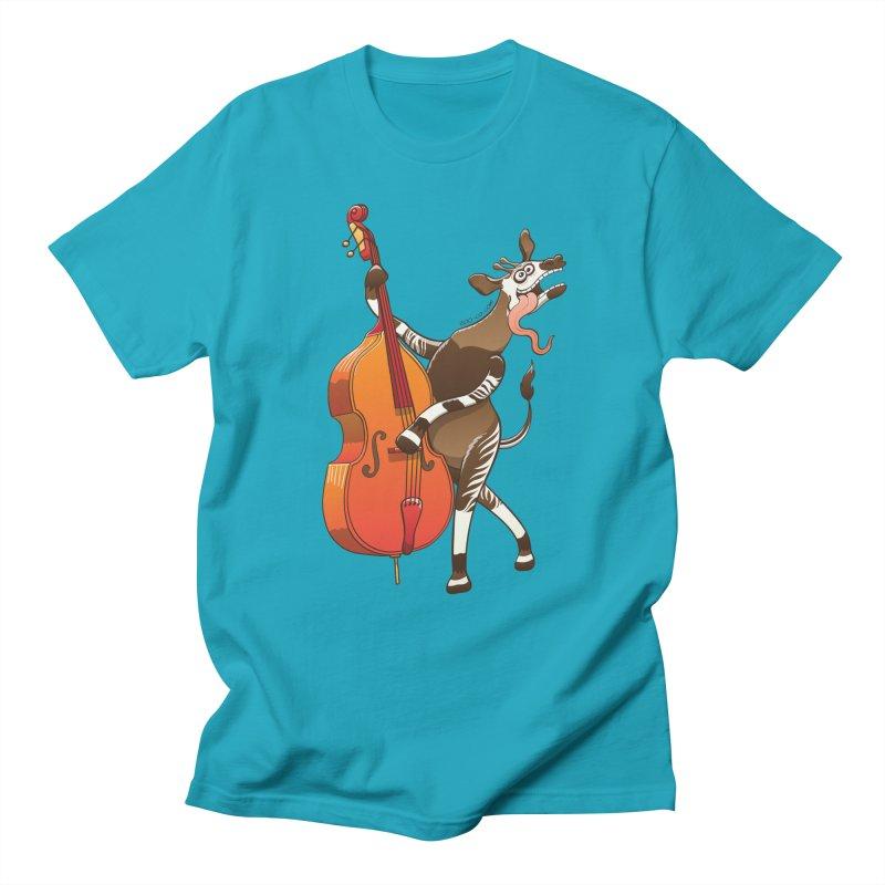 Cool okapi having fun playing double bass Women's Unisex T-Shirt by Zoo&co's Artist Shop