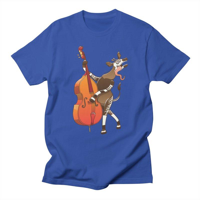 Cool okapi having fun playing double bass Men's T-shirt by Zoo&co's Artist Shop